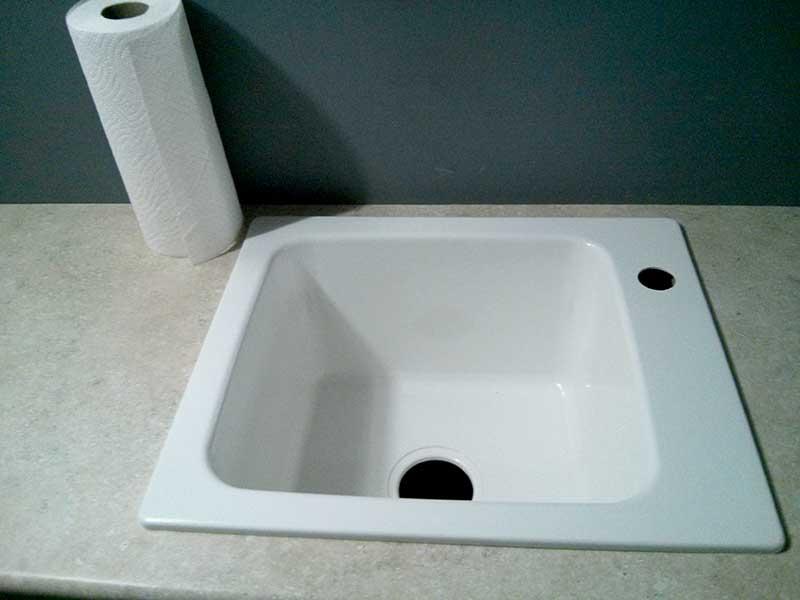 Utility sink installed
